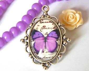 1 silver pendant, purple and Purple Butterfly cabochon