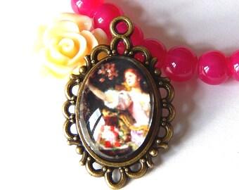 1 bronze pendant, vintage woman portrait cabochon 3