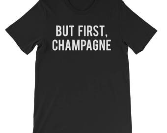 "RESERVED: 9 T-shirts Custom order ""But First, Champagne"" Black Shirt - Bridal Party Getting Ready Outfit - Bride robe"