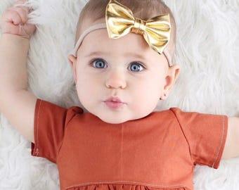"""Small Gold Bow Headband - 2.5"""" Bow Headband - Gold Baby Headband - Soft Bow Headband - Metallic Headband - Photo Prop Headband"""