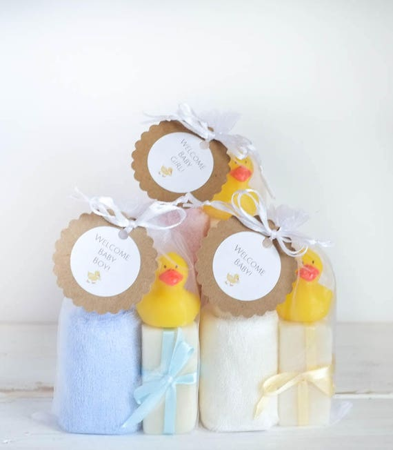 BABY GIFT SET | Three 1oz Infant Size Lavender Soap Bars with Super Soft Bamboo Washcloth and Rubber Ducky | Oh Baby Baby!