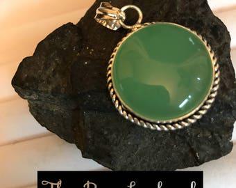 Green Chalcedony silver pendant!