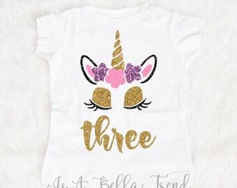 Three Unicorn Birthday Shirt, Birthday Girl Shirt, 3rd Birthday Outfit Girl, Three year old birthday outfit, Three Birthday Shirt 3 year old