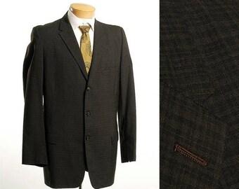SALE Mens Vintage 50s Charcoal Gray 3 Button Jacket Blazer Sportcoat 40L 40 Long