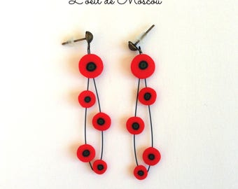 Earrings creator poppies in clusters