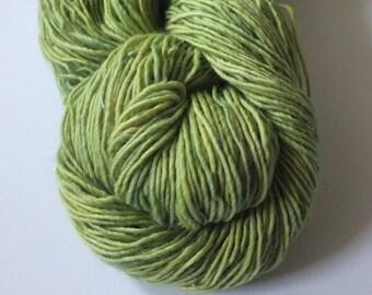 Hand dyed yarn, natural dye, green, merino single, sock weight
