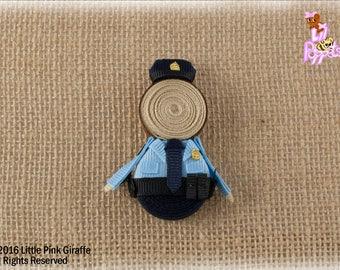 Lil' Poppet™ Deputy Greyson, Police Officer Ribbon Sculpture Hair Clip or Brooch Pin