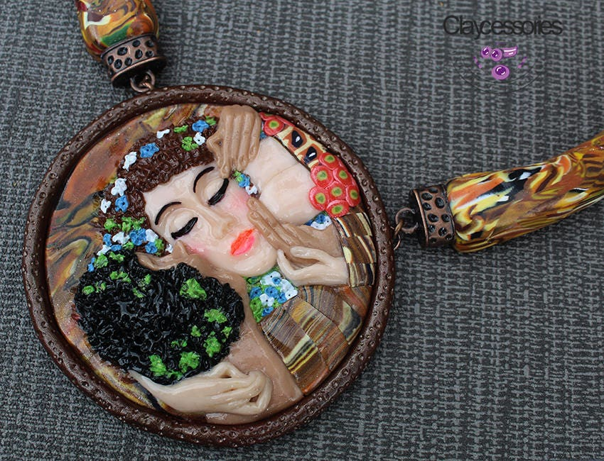 The Kiss Necklace / Art of Gustav Klimt / Statement necklace / Bib necklace/ Kisses necklace / Pendant necklace / Polymer clay necklace