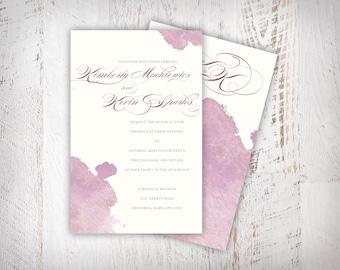Elegant Pink Watercolor Invitation  |  Custom, DOWNLOADABLE  |  Watercolor Wedding Invitations | Baby Shower Girl Invitation