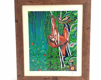Nature Art Orangutan Art Print Wildlife Art Christmas Gift Paisley Pattern Signed