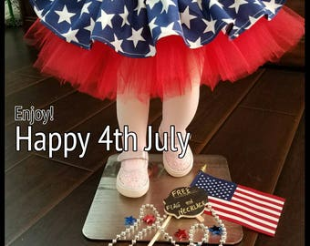 Girls 4th July outfit  (Free Flag and Necklace m), baby 4th july outfit, fourth of July  outfit, 4th july Headbands, 4th July tiara.