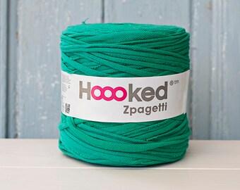 t-shirt yarn 135 yards, ecologic cotton, Zpagetti,  kiparisi green, recycled yarn, cotton yarn, elastic yarn