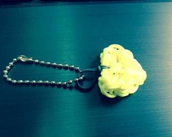 YELLOW NEON RAINBOW LOOM HEART KEYCHAIN