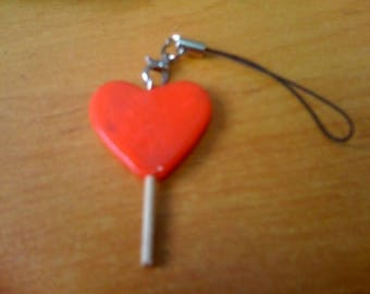 LOLLIPOP FIMO HEART BAG CHARM