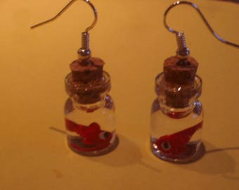 VIALS AS A FISH IN THE WATER FIMO EARRINGS