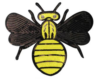 XL Extra Large Stunning Sequin Bee Patch 13cm Applique
