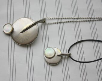 Recycled Saxophone Key Round Silver Pendant Necklace with Mother of Pearl Accent - Musical Instrument Jewelry