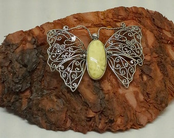 Pendant baltic amber on sterling filigree butterfly shape handmade from Poland