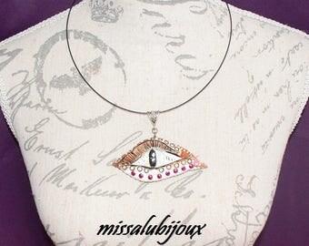 polymer clay dragon eye necklace
