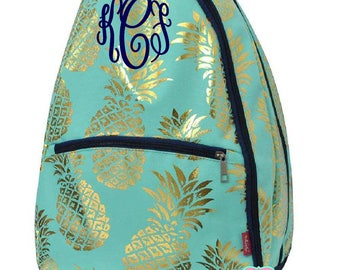 Personalized Pineapple Tennis Racquet Backpack, Monogrammed Tennis Bag with FREE MONOGRAMMING