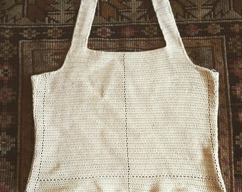 XS/S 40s crochet halter top 1940s 50s 1950s beige off white ivory ecru XS S extra small small handmade hand knit antique old undershirt top