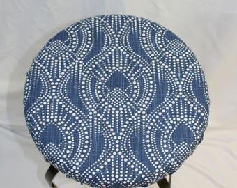 "Fitted elasticized round bar stool, vanity stool or counter stool cover Regal Navy Slub 14"" diameter"