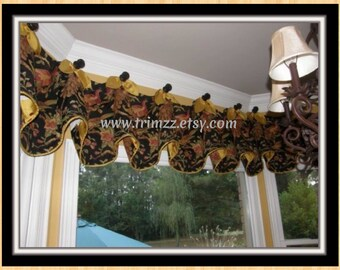 """Made-To-Order....88"""" to 102"""" Wide.....Using YOUR Fabrics...Beautiful Custom Made Topper......Lining INCLUDED.......Hang on Rod or Medallions"""