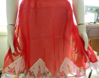 Red mid century half apron with hanky hem