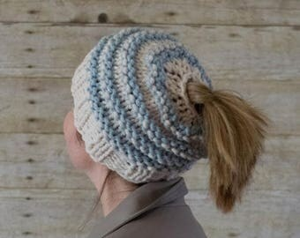 15% OFF SALE Messy Bun Hat, Messy Bun Beanie, Ponytail Hat, Ponytail Beanie / THE Ponytail / 13 Colors