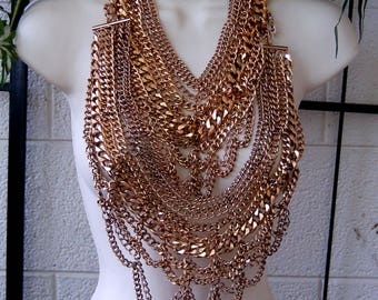 Chain Maille, Chain Necklace, Chainmail, Heavy Chains, Halloween Costume, Belly Dancer Costume, Knight Costume, Slave Chains, Artist Supply