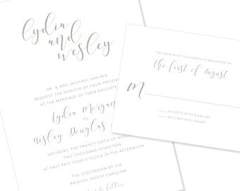 Modern Script | Wedding Invitation | DIY Option Available | Invitation | RSVP | Info Card #1209