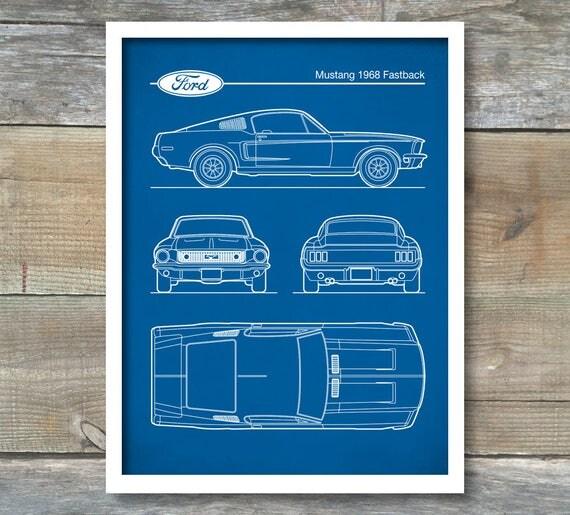 Auto art patent print ford mustang 1968 blueprint bullitt like this item malvernweather Image collections