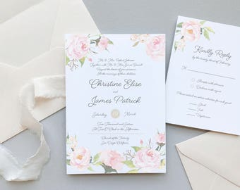 Romantic Blush Floral Wedding Invitation Suite Sample / Garden Wedding / #1105