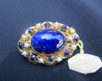 Vintage Handmade Austrian Brooch-Faux Lapis-Pearls-Original Tags