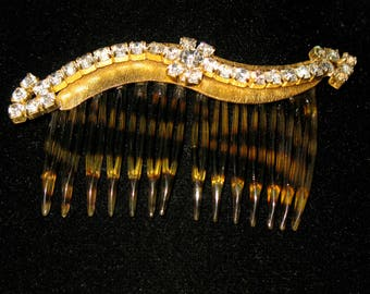 Vintage Prong Set Rhinestone Hair Comb Faux Tortoise Shell and Gold Tone