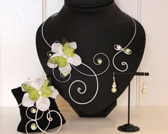 Bridal Jewelry Wedding - Parure set 10 pieces - necklace, bracelet, earrings and hair accessories - white and lime green