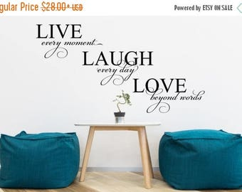 Independence Sale - Live Laugh Love Vinyl Wall Decal (Interior & Exterior Available) Living Room Decor, Vinyl Wall Words, Wall Saying, Life'