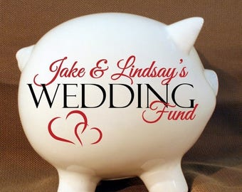 """SUMMER SALE - 5.5"""" Wedding fund personalized piggy bank with Vinyl Decal, Engagement Party Gift, Fund Piggy bank, Wedding Bank"""