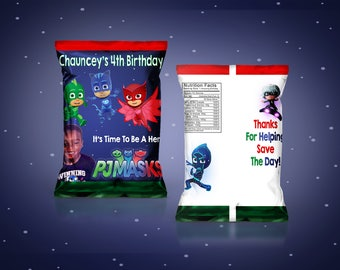 PRINTED PJ Masks Chip Bags Treat Bags YOU Assemble  (Read before ordering)