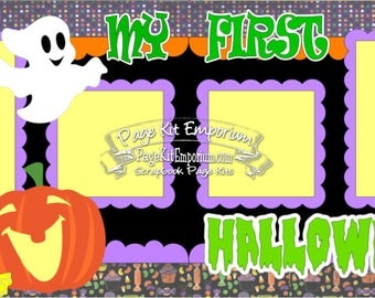 Scrapbook Page Kit First Halloween Boy Girl Baby Pumpkin Ghost 2 page Scrapbook Layout Kit 52