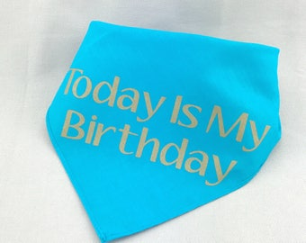 Dog Birthday Bandana Today Is My Birthday Pet Collar It's My Birthday Today Turquoise and Gold