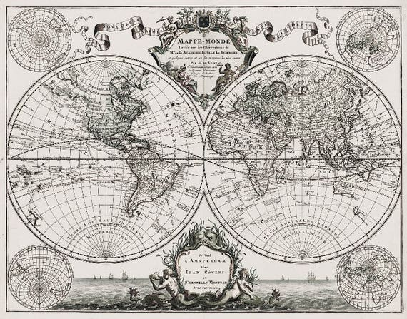 Lisles 1720 old world map historic map antique style lisles 1720 old world map historic map antique style world map guillaume de lisle mappe monde wall map vintage map 14 x 11 gumiabroncs Gallery