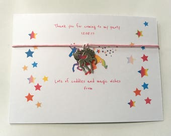 Set of 10 *** Unicorn Wish Bracelets and Cards - Personalised Party Favours Child's Birthday