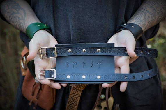 Viking Leather Wrist Cuff - Elder Futhark Rune Cuff - Runic Inscription Magick Cuff / Bracer