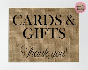 Cards & Gifts thank you Rustic Theme Burlap Sign Print 5x7 8x10 - wedding engagement gift shower birthday party love