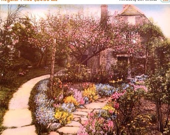 ON SALE Wallace Nutting Print Cottage Chic Shabby Chic Colored Photographic Print Cottage Scene Cottage Garden Home Decor