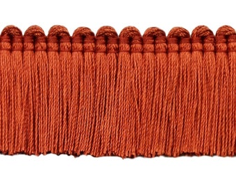 """Burnt Orange, 1 1/4"""" Basic Trimbrush Fringe Style# 0150sb Color Rust - 088 (sold by The Yard)"""