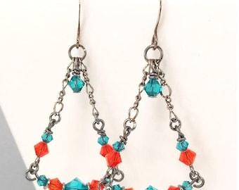 ON SALE Miami Dolphins earrings • Swarovski Crystal earrings • Dangle earrings • Drop earrings •