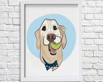 Custom Pet Portrait - digital pet portrait , pet portrait from photograph, pet memorial picture, pet illustration