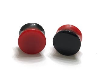 """14mm (9/16"""") Reversible Black and Red Plugs - Double Flared - Plugs - Gauges - Stretched Ears"""
